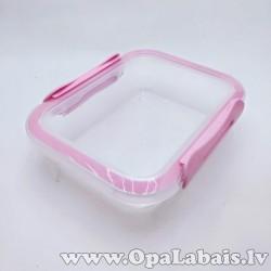 Plastmasas trauks ar vāku - rozā, 0,4l