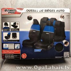 Sēdekļu pārvalku komplekts - zils/melns