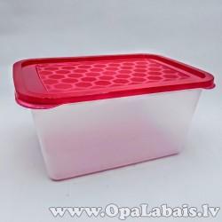Plastmasas trauks ar vāku - sarkans
