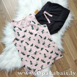 Pidžama ar kaktusiem (rozā+melna, 134/140)