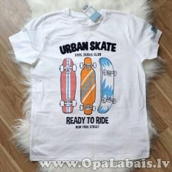 Pusaudžu T-krekls Urban skate (balts,...