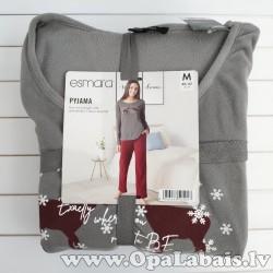 Sieviešu flīsa pidžama (pelēka ar sarkanu,...