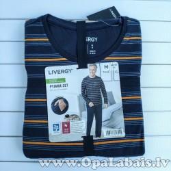 Vīriešu pidžama (tumši zila, strīpaina, M,...