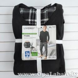 Vīriešu flīsa pidžama (melna, rūtaina, XL,...