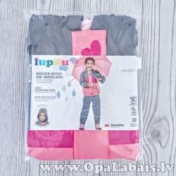 Bērnu lietusmētelis (rozā ar pelēku)