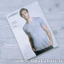 Vīriešu t-krekls (melanžēts zils ar baltu,...