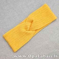 Tamborēta ausaine (roku darbs, dzeltena)