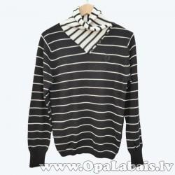 Vīriešu džemperis ar apkakli un kabatām