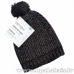 Silta ziemas cepure ar spīdīgu izšuvumu
