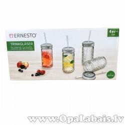 Stikla glāzes ar salmiņiem, 4gb.