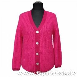 Silta adīta jaka (piesātināti rozā krāsā)