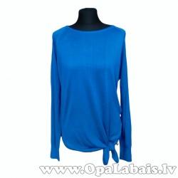Zilas krāsas džemperis ar dekoratīvu banti