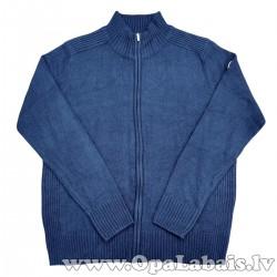 Elastīga adīta vīriešu jaka (tumši zila)