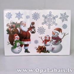 Ziemassvētku logu uzlīmes - Salavecis un sniega vīri