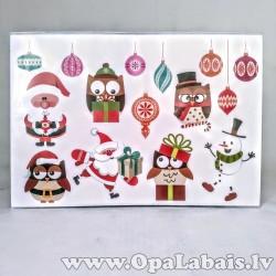 Ziemassvētku logu uzlīmes - Ziemassvētku pūcītes