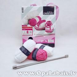 Adīšanas komplekts zīdaiņa čībiņām (rozā)