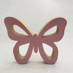 Koka dekorācija - rozā taurenis