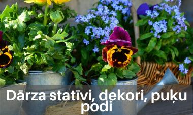 Dārza statīvi, dekori, puķu podi